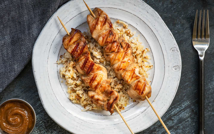 Thai satay chicken with cauliflower rice