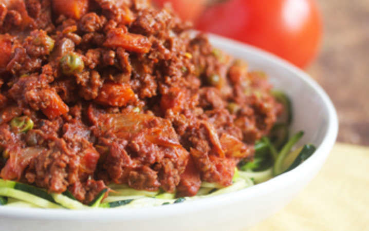 Zucchini noodles with hearty beef bolognese